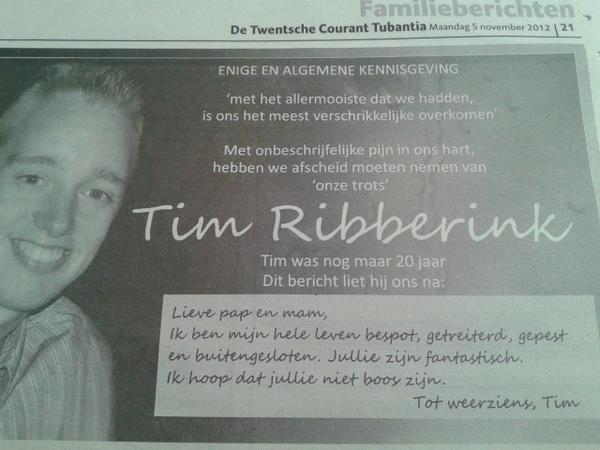 Tim Ribberinkin kuolinilmoitus