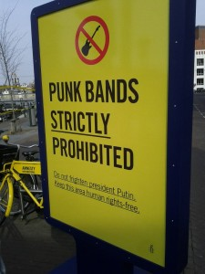 Punk bands strictly prohibited - Amnestyn kampanjakyltti